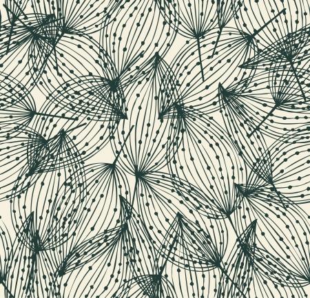 Bloemen naadloos patroon herfst eindeloze lineaire achtergrond met bladeren decoratieve bladeren met stippen