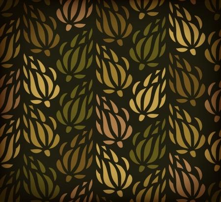herbstblumen: Herbst Blumen auf dem dunklen Hintergrund. Endless Blumenmuster. Illustration