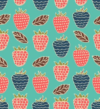 Bright childlike seamless floral pattern with berries. Raspberries and blackberries background can be used for cards, gifts, prints Vector