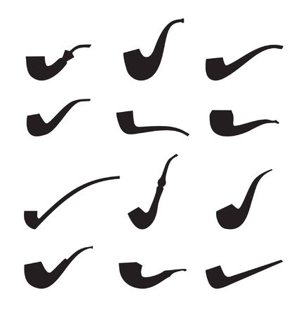 Set of tobacco pipes. Icon collection of pipes isolated silhouettes  Vector