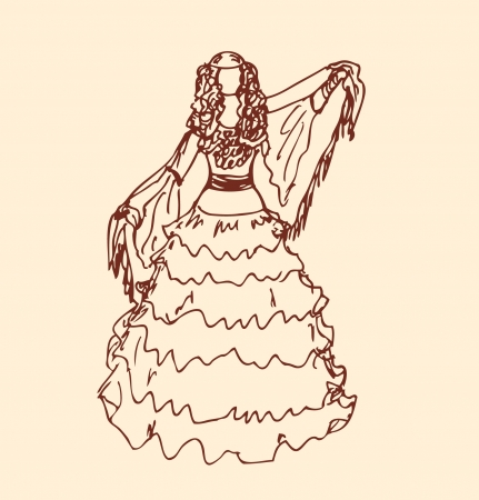 folk dance: Image of dancing woman in retro clothes  Girl in vintage dress  Sketchy woman silhouette  Gypsy  Romany Illustration