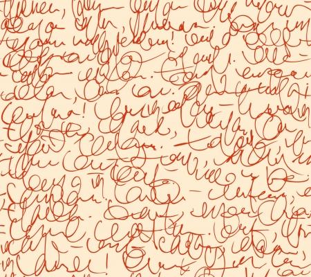 Brief naadloze patroon Rode script achtergrond Schets van het schrijven van de kalligrafie template Stock Illustratie