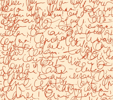 Letter seamless pattern  Red script background  Sketch of writing calligraphy template Vector