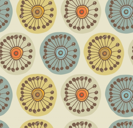 Abstract scandinavian seamless pattern  Fabric texture with decorative flowers  Background with circle ornamental texture