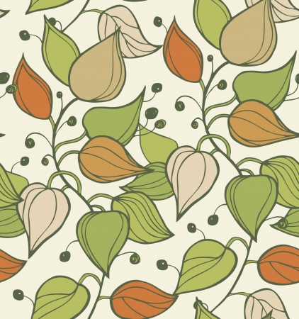Branches seamless texture  Decorative modern floral background  Pattern with leafs  Beautiful ornate template for design Vector