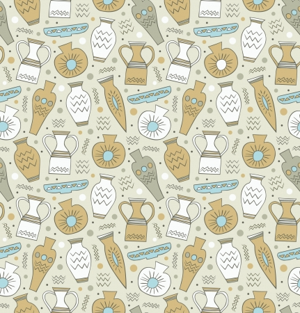 Ceramic seamless pattern  Ethnic national Greek style background  China  Endless texture with drawn classical tableware  Antique template for design and decoration Vector