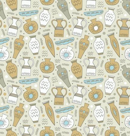 vasi greci: Ceramica senza soluzione di continuità etnica greco stile sfondo Cina trama Endless nazionale con disegnato classico stoviglie modello antico per la progettazione e la decorazione