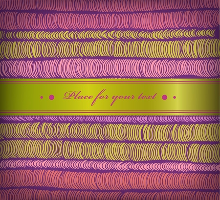 satiny: Colorful spring banner with rows of hand drawn horizontal folds and satiny ribbon  Cute border with place for your text  Creative joyful card Illustration