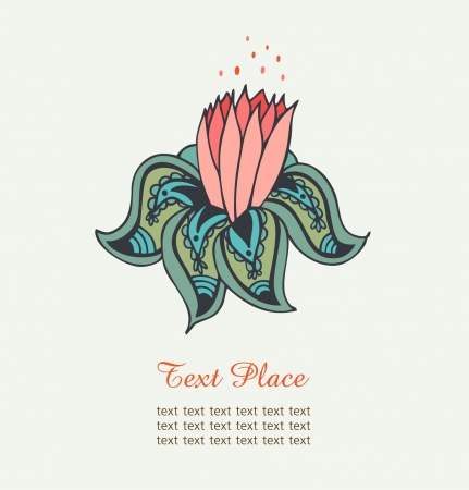 Cute decorative water lily  Isolated drawn beautiful flower  Nenuphar Vector