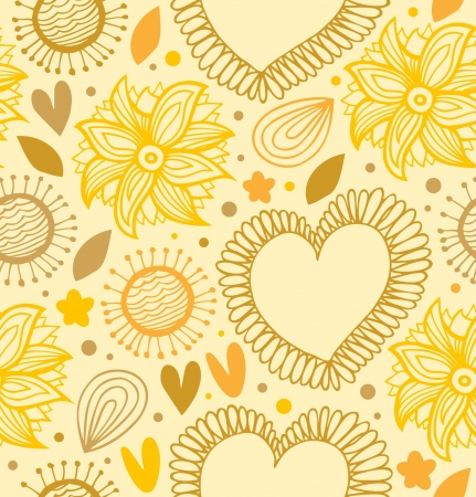 Floral beauty seamless pattern  Digital yellow backdrop with hearts and flowers  Fabric decorative lace texture Vector