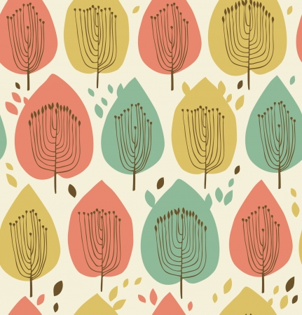 Floral seamless pattern in scandinavian style  Fabric texture with decorative trees  Abstract background with leafs