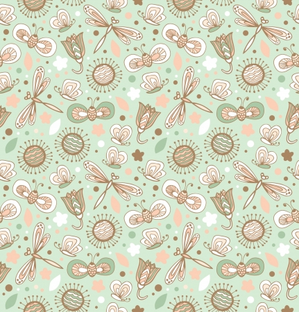 Light green pattern with flowers, dragonflies and butterflies  Floral fabric seamless texture  Fantasy elegant spring background Illustration