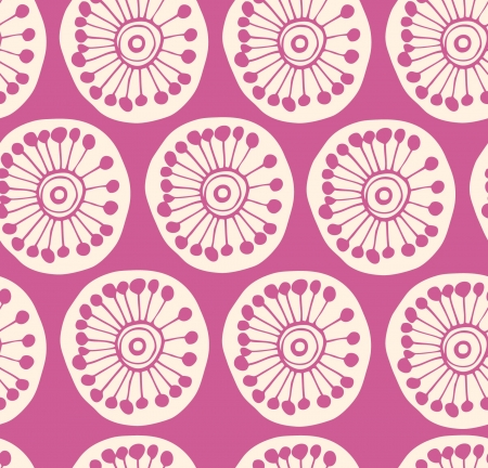 Rose modern seamless pattern  Fabric texture with decorative flowers  Background with circle ornamental texture