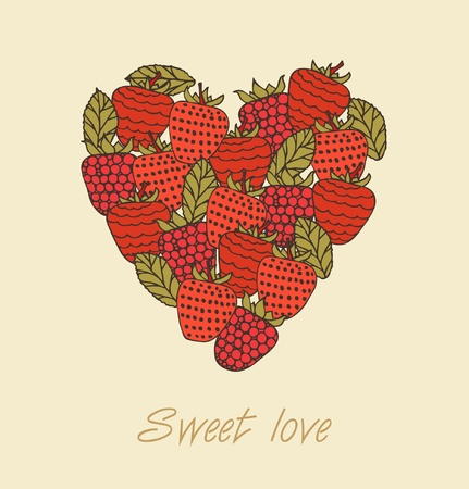 layout strawberry: Sweet love  Template with berries in heart shape  Design template for greeting cards, wedding cards, crafts, gifts, prints on cups, pockets, bags