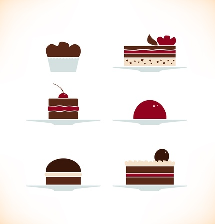 Icons set of different sweets, biscuits, cakes  Bakery collection can be used for design cafe menu etc Vector