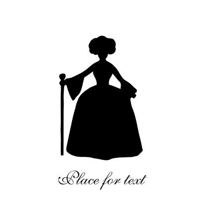 rijke vrouw: Zwarte geïsoleerde silhouet van edele vrouw Vintage vrouw contour Rijke vrouw in historische kleding Dame in barok smaak aristocratische vrouw Daguerreotype beeld Stock Illustratie