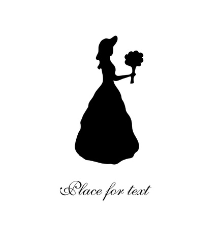 aristocratic: Black isolated silhouette of young girl  Vintage woman contour  Romantic woman in retro dress  Lady with bunch of flowers   Aristocratic woman  Daguerreotype image