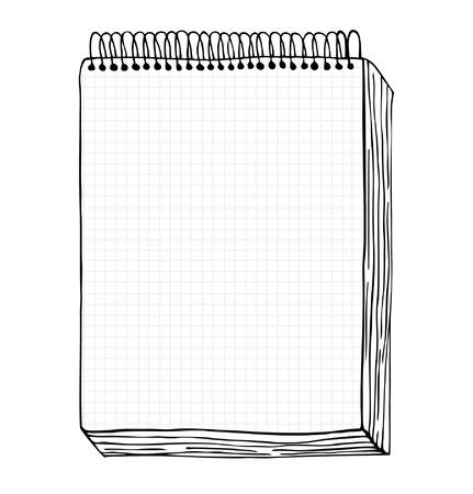 Boceto de ilustración dibujados a mano cuaderno con hojas de bloc de notas portátil arte del clip con la página de claro