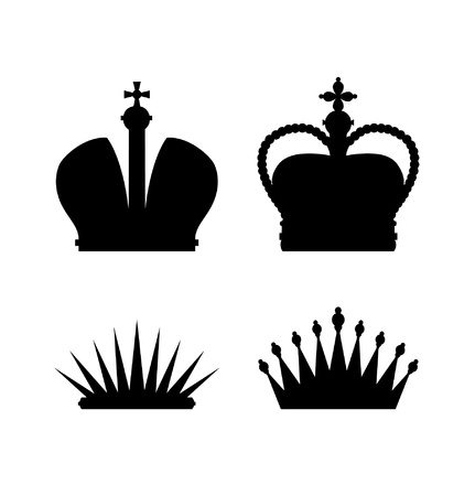 Set of different crowns  icons collectoin of isolated black silhouettes of crowns and diadems  Illustration of royal symbols Vector
