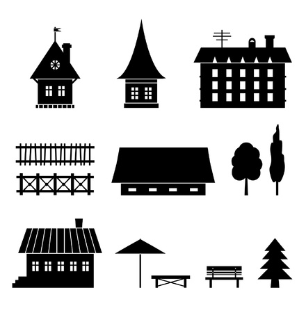 country: Set of different houses. Icons of country elements. Trees, fences, houses, benches. Village views  Illustration