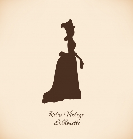 historical romance: Black isolated woman silhuette  Vintage illustration of young woman  Romantic woman in modern dress  Lady with bunch of flowers  Aristocratic woman  Daguerreotype image Illustration