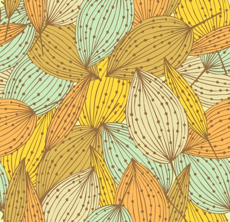 Elegante bloemen naadloos patroon Decoratieve eindeloze lineaire achtergrond met bladeren Vintage bladeren met stippen