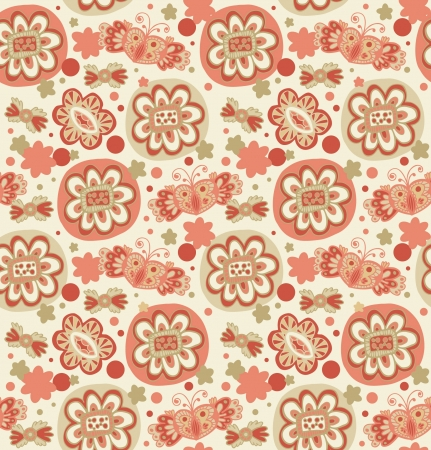 Embroidery  Decorative seamless floral pattern  Retro background with flowers, hearts and butterflies  Elegant light abstract texture for textile, package, crafts, wallpapers, covers Vector