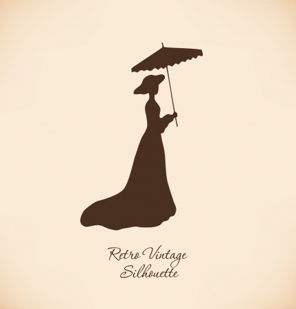 Black isolated silhuette of young woman Vintage woman contour Romantic woman in retro dress Lady with umbrella Aristocratic woman Daguerreotype image
