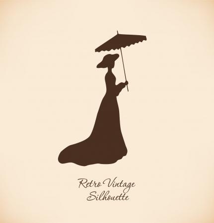 teatro antiguo: Silhuette negro aislado de una mujer joven mujer Vintage contorno mujer romántica en Lady vestido retro con paraguas aristocrática imagen Daguerrotipo mujer Vectores