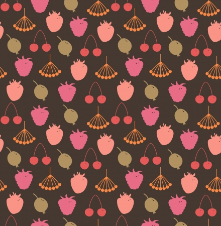 Endless natural pattern  Decorative background with berries  Rowan, raspberry, strawberry, cherry, gooseberry, hips on dark backdrop Vector