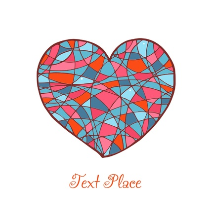 vitrage: Isolated drawn heart  Love banner  Romantic mosaic heart  Template for cards, prints, gifts, scrapbook Illustration