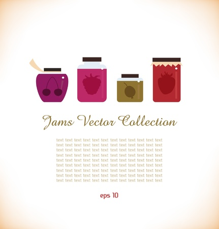 strawberry jelly: Jams vector collectoin  Strawberry jam  Red raspberry jam  Cherry jam  Set of different confiture  Isolated pots of jam Illustration