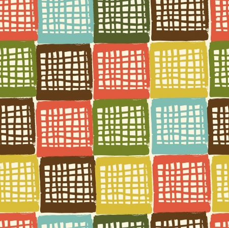 Netting abstract grungy pattern  Seamless colorful chequered background  Decorative doodle checkered texture Vector