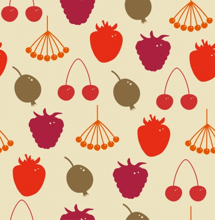 Seamless herbal pattern  Decorative background with berries  Rowan, raspberry, Strawberry, cherry, gooseberry, hips Vector