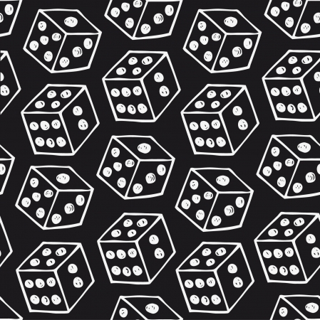 tossing: Vector image of dice  Seamless black pattern with drawn bricks