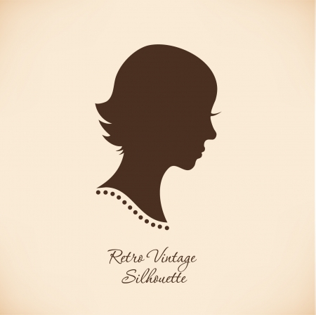 Vintage woman head silhouette  Vector Isolated woman half face  Retro imafe of girl portrait  Contour illustration of lady head Vector