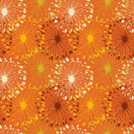 Orange grunge radial pattern. Decorative floral seamless background for crafts, textile, wallpapers, web pages Vector