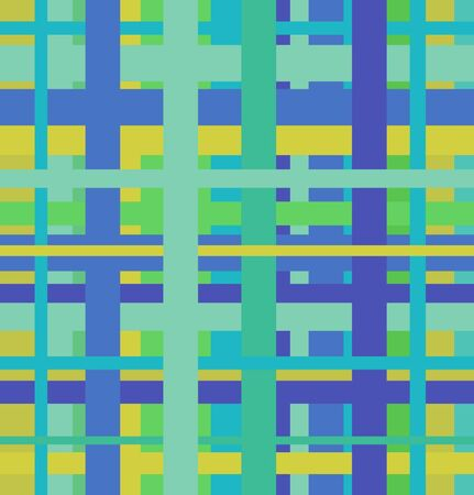 chequered: Seamless geometric linear pattern. Endless blue and green abstract background