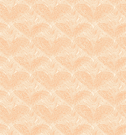 Beige seamless pattern with linear hearts  Decorative netting texture  Abstract lace background Vector