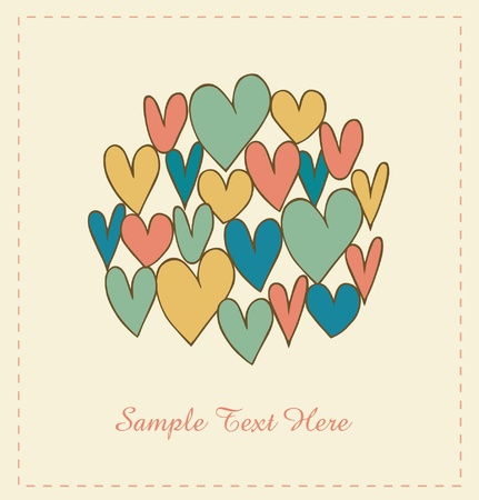 february 14th: Decorative love banner with hearts in circle  Doodle elements for scrapbooking, gifts, arts, crafts, prints on cups, bags, pockets  Scribble design elements