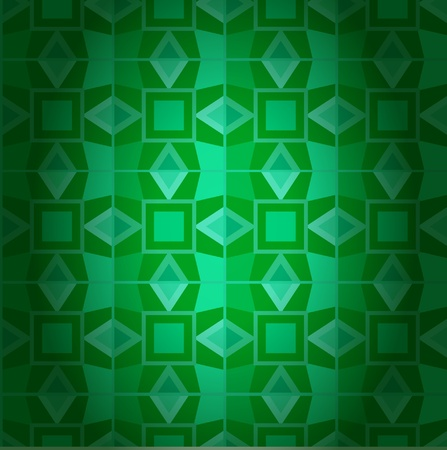 Geometrical dark emerald damask seamless texture. Abstract mystic background Vector
