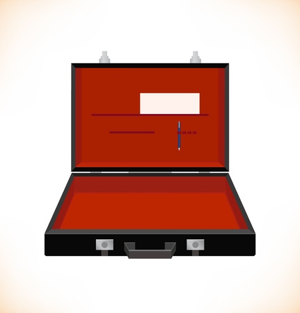 Isolated image of open suitcase. Trunk. Case. Accessory of businessman. Bag Vector