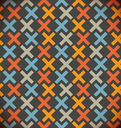 Naadloze eenvoudige geometrische achtergrond. Geruite kleurrijk patroon. Geborduurde decoratieve kant decor Stock Illustratie