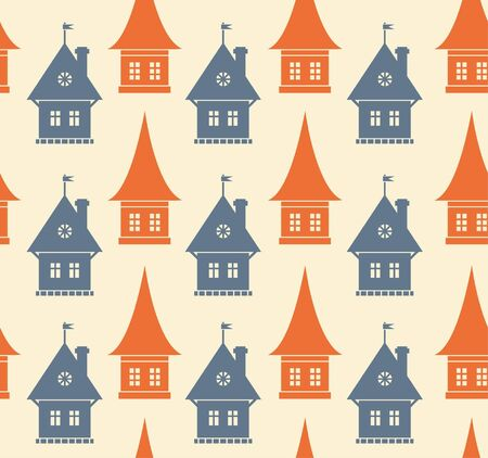 Seamless pattern with different silhouettes of houses. Simple geometrical town background. Cityscape endless texture Vector