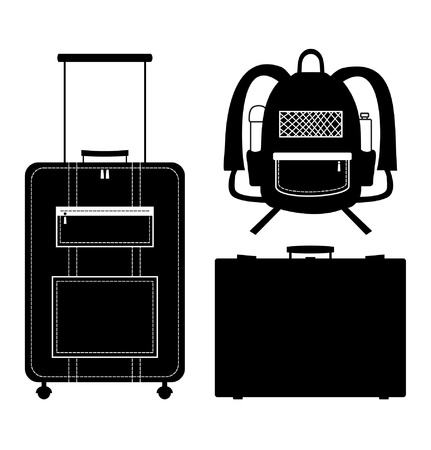 trolley case: Set of black isolated contour silhouettes of bags. Icons collection of bags. Pictogram. Luggage, baggage. Suitcase. Case. Trunk. Rucksack, knapsack Illustration