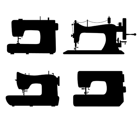 Set of black isolated contour silhouettes of sewing machines. Icons collection of stitching machines. Pictogram Vector