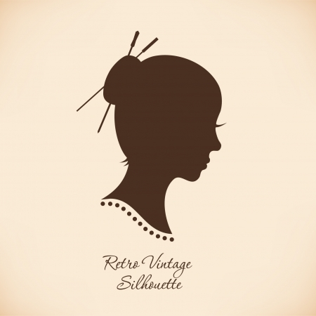 black wigs: Vintage woman head silhouette. Vector Isolated woman half face. Retro image of girl portrait. Contour image of lady head