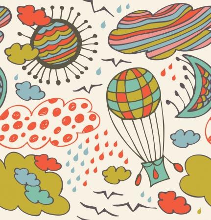 zon en maan: Naadloos decoratief patroon met wolken, afwerken, zon, maan en ballon. Achtergrond met getekende elementen van de hemel