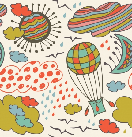 Seamless decorative pattern with clouds, overcasts, sun, moon and balloon. Background with drawn elements of sky Vector