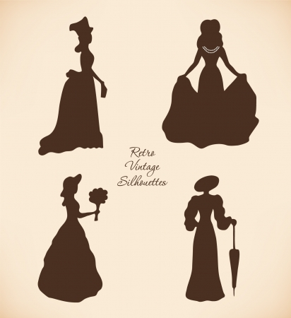historical romance: Black isolated women silhouettes  Vintage icons collection of retro women  Set of romantic women in modern dresses  Daguerreotypes images  Pictogram Illustration